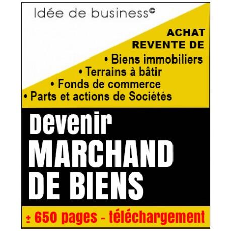 Marchand de biens, idée de création, 650 pages (dont statuts commentés et mode d'emploi pour créer la structure juridique)